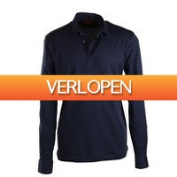 Suitableshop: Suitable stretch longsleeve polo navy