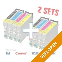 2 x set cartridges voor HP, Epson, Brother & Canon printers