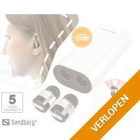 High-end draadloze Sandberg earbuds met powerdock