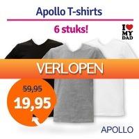 1dagactie.nl: 6-pack Apollo heren T-shirts