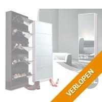 Grote schoenenkast met spiegel