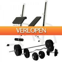 Befit2day.nl: Halterbank/squat rack met halterset