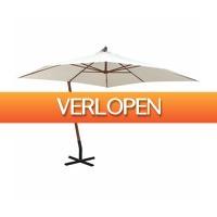 VidaXL.nl: vidaXL Zweefparasol met houten paal 300 x 300 cm wit
