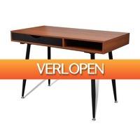 VidaXL.nl: Design bureau bruin + zwarte poten