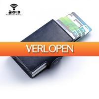 Dennisdeal.com 3: Dubbele PU lederen uitschuifbare cardprotector