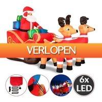 Grotekadoshop.nl: Grote opblaasbare kerstman met arreslee