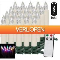 Grotekadoshop.nl: 20 set LED Kerstboomverlichting kaarsen met afstandsbediening in kleur