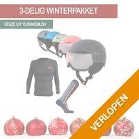 Winterpakket met skihelm, thermoshirt en skisokken