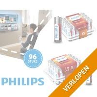 96 AA of AAA Philips Power alkaline batterijen