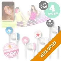 Set van 4 fashion earphones