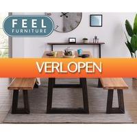 Telegraaf Aanbiedingen: Feel Furniture eikenhouten tafel
