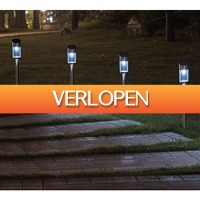 Koopjedeal.nl 2: Set van 4 RVS Tuinlampen op zonne-energie