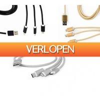 Koopjedeal.nl 2: 1+1 Gratis: 3-in-1 USB Gembird oplaadkabels