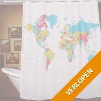 Wereldkaart douchegordijn
