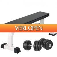 Befit2day.nl: Vlakke fitnessbank en dumbellset