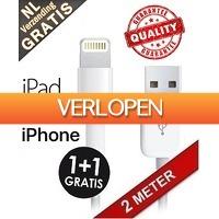 Mob-Com: USB Lightning kabel 1+1 gratis