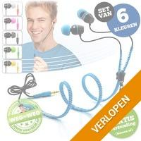 Set van 6 Zipper earphones