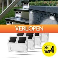 Slimmedealtjes.nl: 4-stuks RVS Solar LED-buitenlampen