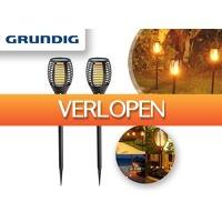 DealDonkey.com 2: Grundig solar LED tuinlampen met vuursimulatie - 2 stuks