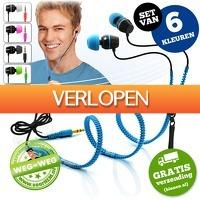 voorHEM.nl: Set van 6 Zipper earphones