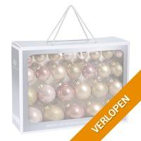52-delige glazen kerstballen set