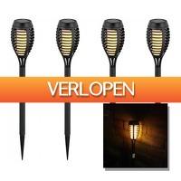 6deals.nl: Tuinverlichting op Zonne-Energie - set van 4
