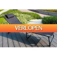 VakantieVeilingen: Veiling: Zwarte opvouwbare ligstoel van Feel Furniture