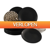 Xenos.nl: Serviesset zwart luipaard - 18-delig