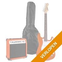 Johnny Brook JB407 elektrische gitaar starterset met o.a. 20W versterker - Burnt Orange