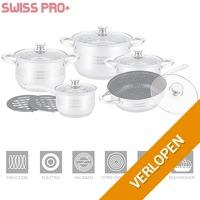 12-delige luxe pannenset met marmeren koekenpan