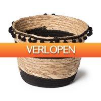 Xenos.nl: Bloempot met pompoms - naturel/zwart- 22 x 17 cm