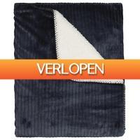HEMA.nl: Plaid rib 130 x 150 - sherpa - blauw