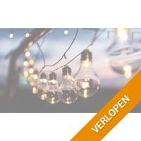 1 of 2 lichtslingers op zonne-energie met 10 lampen in retrostijl