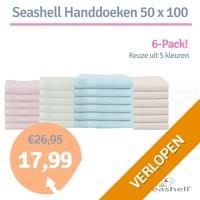 6 x Seashell handdoeken 50 x 100 cm