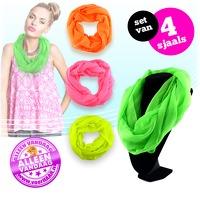 Bekijk de deal van voorHAAR.nl: 4 x neon gekleurde sjaal