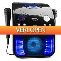 MaxiAxi.com: Fenton SBS20B karaoke set met Bluetooth, CD+G, microfoons, LED's en tv aansluiting - zwart