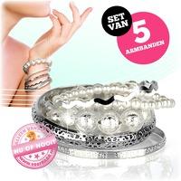 Bekijk de deal van voorHAAR.nl: 5 zilverkleurige armbanden