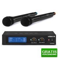 Bekijk de deal van MaxiAxi.com: Vonyx WM522 draadloze microfoonset 2-kanaals VHF