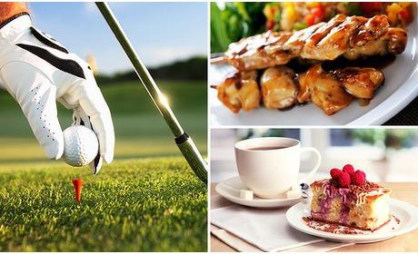 Social Deal: Golfarrangement + koffie/thee en gebak + 3-gangendiner