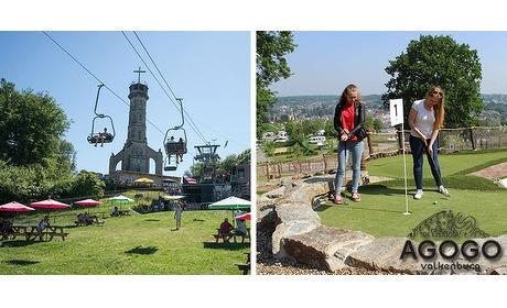Wowdeal: Kabelbaan retour en 18 holes Adventure Golf bij AGOGO Valkenburg