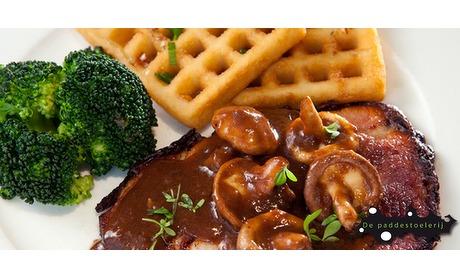 Wowdeal: Lunchplateau of Luikse wafel bij De Paddestoelerij