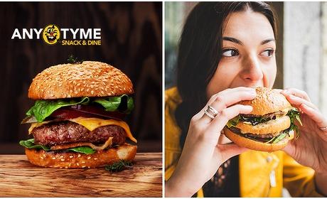 Social Deal: Luxe burger + friet + saus bij AnyTyme