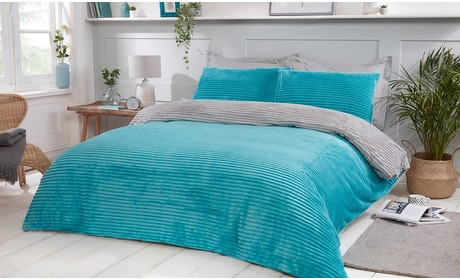Groupon: Geribbeld fleece dekbedset