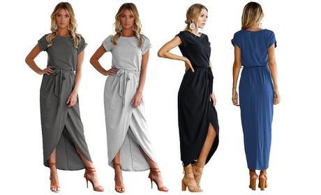 Groupon: Lange getailleerde jurk met split
